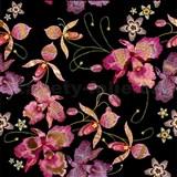 Samolepiace fólie ružová orchidea čierno-zlatá - 45 cm x 5 m