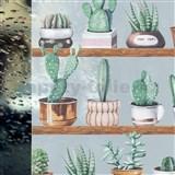 Statické fólie transparentné kaktusy - 67,5 cm x 15 m