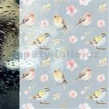 Statické fólie transparentné SPRING BIRDS - 45 cm x 15 m