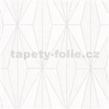 Vliesové tapety na stenu IMPOL Giulia Art-Deco vzor biely so striebornými kontúrami