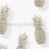 Vliesové tapety na stenu IMPOL Giulia ananásy sivo-zlaté