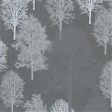 Vliesové tapety na stenu IMPOL Giulia stromy svetlo sivé na tmavo sivom podklade