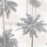 Vliesové tapety na stenu IMPOL Giulia palmy sivo-béžové
