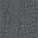 Vliesové tapety na stenu IMPOL Giulia Art-Deco vejárový vzor čierno-strieborný