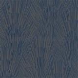 Vliesové tapety na stenu IMPOL Giulia Art-Deco vejárový vzor modro-zlatý