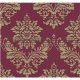 Vliesové tapety na stenu Glamour zámocký vzor zlatý na červenom podklade