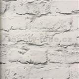 Vliesové tapety na stenu Wood´n Stone tehlová stena bielo-sivá