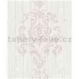 Vliesové tapety na stenu Facade drevený obklad s ružovým ornamentom