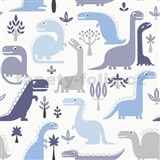 Vliesové tapety na stenu dinosaurus modrý, hnedý - POSLEDNÉ KUSY