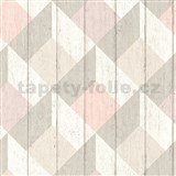 Vliesové tapety na stenu Unplagged 3D drevené dosky biela, béžová, ružová
