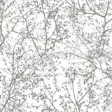 Vliesové tapety na stenu Graphics Alive - konáre stromov strieborné