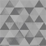 Vliesové tapety na stenu Graphics Alive - geometrický vzor strieborno-sivý