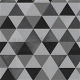 Vliesové tapety na stenu Graphics Alive - geometrický vzor čierno-sivý