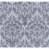 Tapety na stenu Graziosa zámocký vzor hnedý na modrom podklade