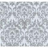 Tapety na stenu Grazioso zámocký vzor sivý na modrom podklade