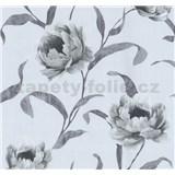 Tapety na stenu Graziosa kvety sivé na svetlo modrém podklade
