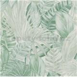 Vliesové tapety na stenu Greenery florálny vzor svetlo zelený