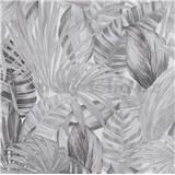 Vliesové tapety na stenu Greenery florálny vzor čierno-bielý