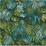 Vliesové tapety na stenu Greenery palmové listy modro-zelené