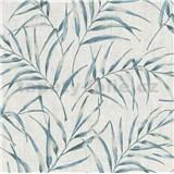 Vliesové tapety na stenu Greenery palmový list modrý na sivom podklade