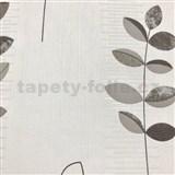 Vliesové tapety na stenu Happiness listy sivo-čierne na bielom podklade