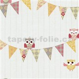 Papierové tapety na stenu Happy Kids 2 - sovy žlto-sivé