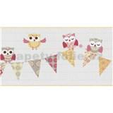 Bordúra papierová Happy Kids 2 - sovy žlté 5 m x 26,5 cm