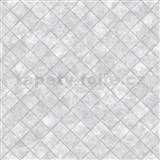 Vliesové tapety na stenu Hexagone štvorce sivé s lesklým efektom