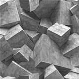 Vliesové tapety na stenu Hexagone 3D kocky sivé