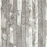 Vliesové tapety na stenu Home drevený obklad s kôrou sivý