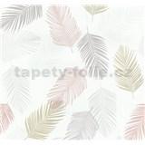 Vliesové tapety na stenu Infinity perie sivé, okrové, lososové, biele - DOPREDAJ