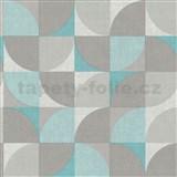 Vliesové tapety na stenu Inspiration Wall geometrický vzor tyrkysovo-sivý