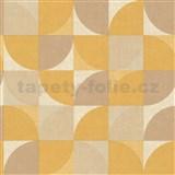Vliesové tapety na stenu Inspiration Wall geometrický vzor horčicovo-hnedý