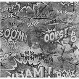 Papierové tapety na stenu It's Me komiksové bubliny sivé