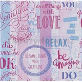 Papierové tapety na stenu It's Me Vintage Labels ružové