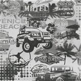 Papierové tapety na stenu It's Me Venice Beach černobiele - POSLEDNÝ KUS