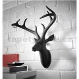 Dekorácia na stenu - hlava jeleňa s parohami - čierna 43 x 33 x 23 cm