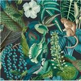 Vliesové tapety na stenu IMPOL Jungle Fever - fauna a flóra zeleno-tyrkysová