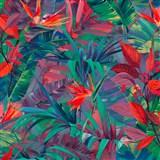 Vliesové tapety na stenu IMPOL Jungle Fever - listy červeno-zelené