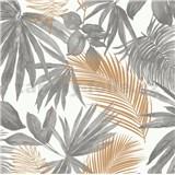 Vliesové tapety na stenu IMPOL Jungle Fever palmové listy zlato-sivé