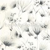Vliesové tapety na stenu G. M. Kretschmer Sommeraktion kvety čierno-strieborné