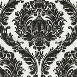 Tapety na stenu Classico - barokový vzor - čierny na bielom podklade
