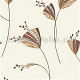 Tapety Lacantara 3 - kvety oranžovo-hnedé MEGA ZĽAVA