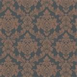 Luxusné vliesové tapety na stenu LACANTARA zámocký vzor medený na sivom podklade