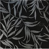 Luxusné vliesové tapety na stenu LACANTARA listy strieborné na čiernom podklade
