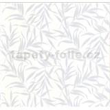 Luxusné vliesové tapety na stenu LACANTARA listy strieborné na bielom podklade - POSLEDNÉ KUSY