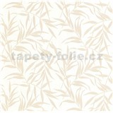 Luxusné vliesové tapety na stenu LACANTARA listy svetlo zlaté na bielom podklade - POSLEDNÉ KUSY