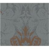 Tapety na stenu La Veneziana 3 zámocký vzor damašek bronzový na sivomodrom podklade