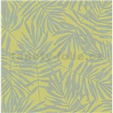 Vliesové tapety na stenu La Veneziana IV papradie strieborné na limetkovom podklade