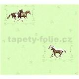 Detské vliesové tapety na stenu Little Stars kone na zelenom podklade